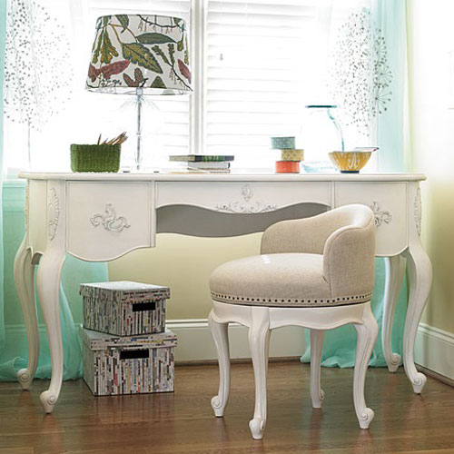 Charlotte Vanity Desk In Daisy White Children Furniture Girls Room CharmPos