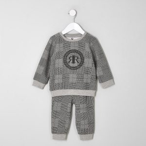 Mini Baby Boy Grey Check Sweatshirt Outfit by River Island main CharmPosh